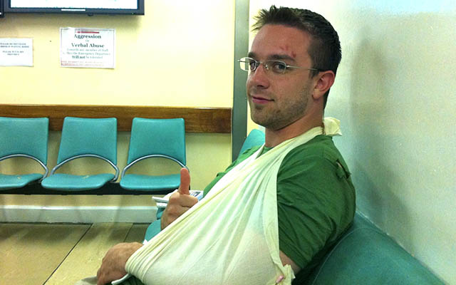 Christopher R. Cooper with a Broken Elbow