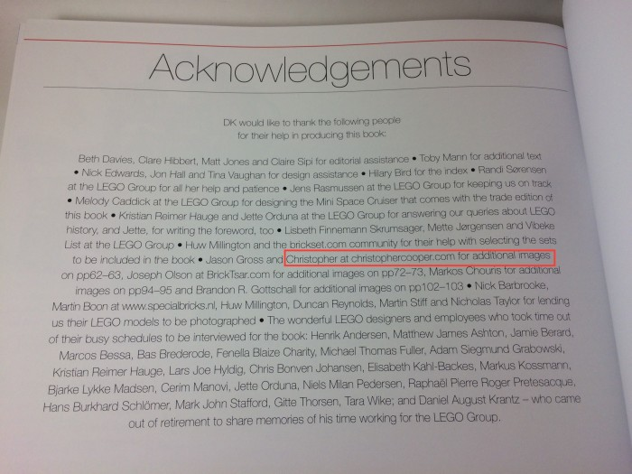 Great LEGO Sets: Acknowledgements
