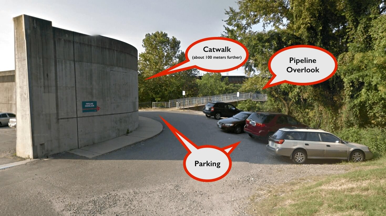 Richmond Pipeline Park Parking and Catwalk Directions